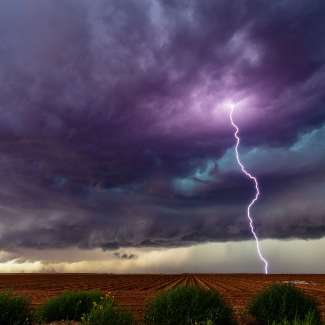 """Supercell thunderstorm with lightning"" stock image"