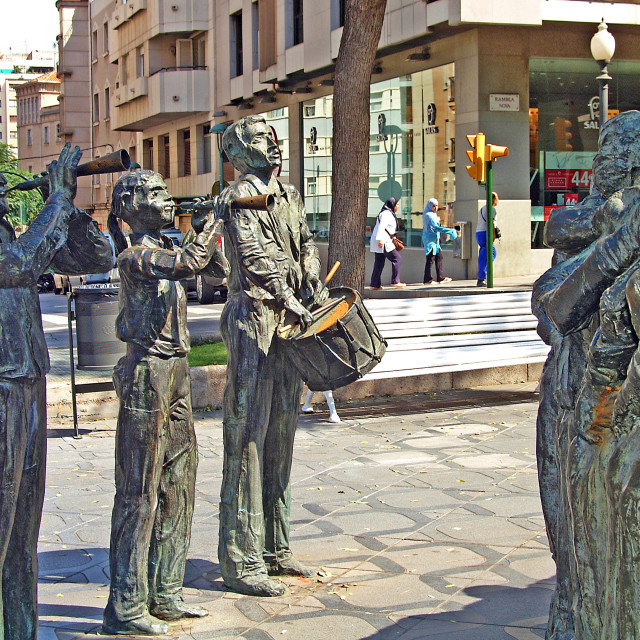 """Tarragona Human Tower Statue, of musicians playing, Catalonia, Tarragona Province, Spain."" stock image"