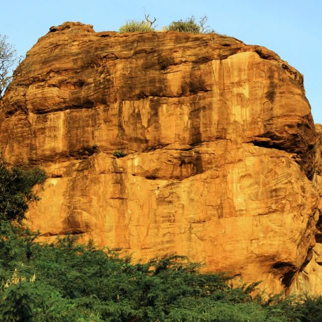 """Sun Soaked Rock Front, Badami"" stock image"