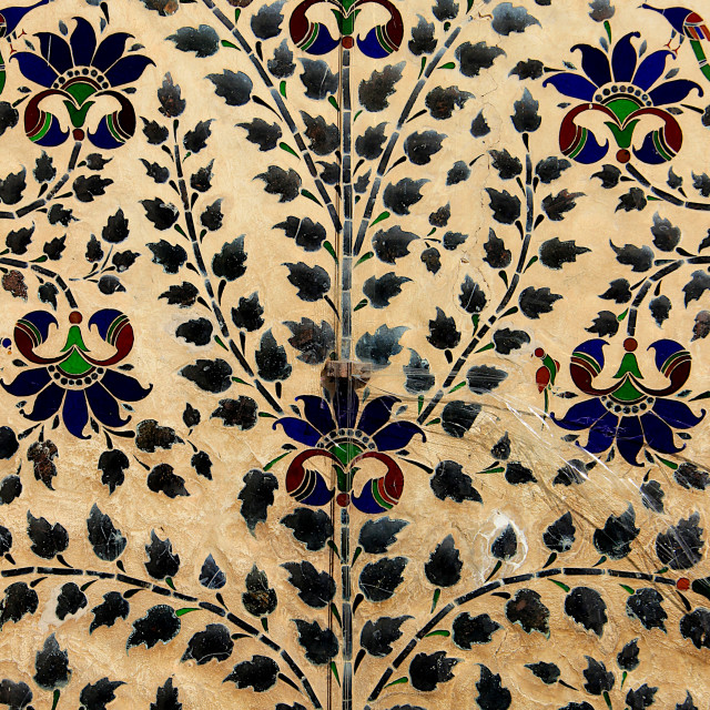 """""""Leafy Pattern in Mortar, Udaipur"""" stock image"""