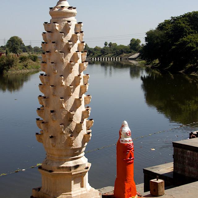 """""""Stone Lamp Piilar, Siddhavat"""" stock image"""