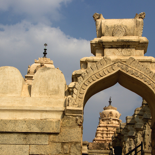 """""""Temple Tower and Arch, Lepakshi"""" stock image"""