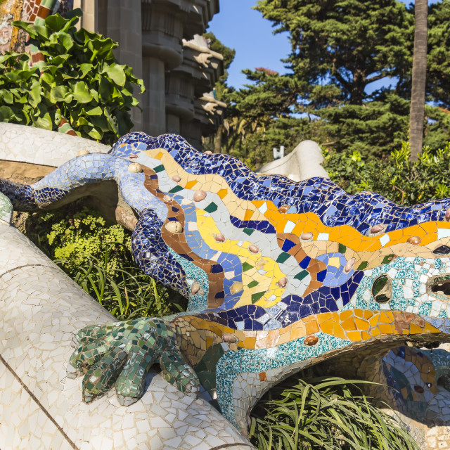 """Multicolored mosaic salamander, popularly known as El Drac (the dragon) at Park Guell"" stock image"