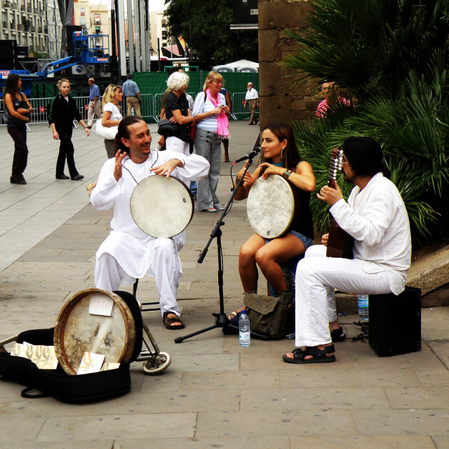 """""""Street Entertainers"""" stock image"""