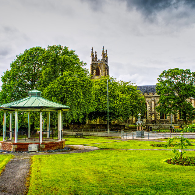 """""""Church and Bandstand"""" stock image"""