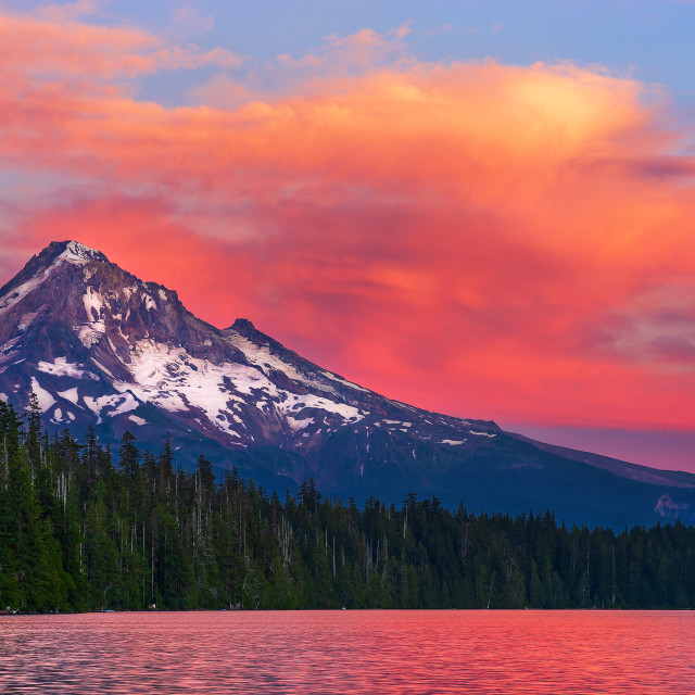 """""""Mt. Hood at sunset from Lost Lake, Oregon."""" stock image"""
