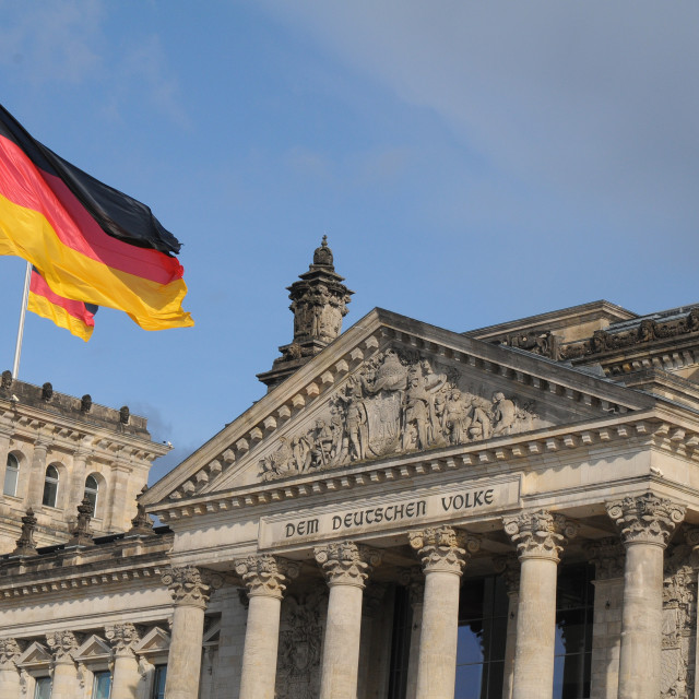 """GERMAN PARLIAMENT BUILDING REICHTAG AND BUNDESTAG"" stock image"