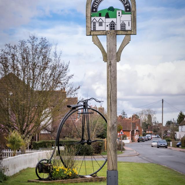 """""""Sissinghurst Village Sign"""" stock image"""