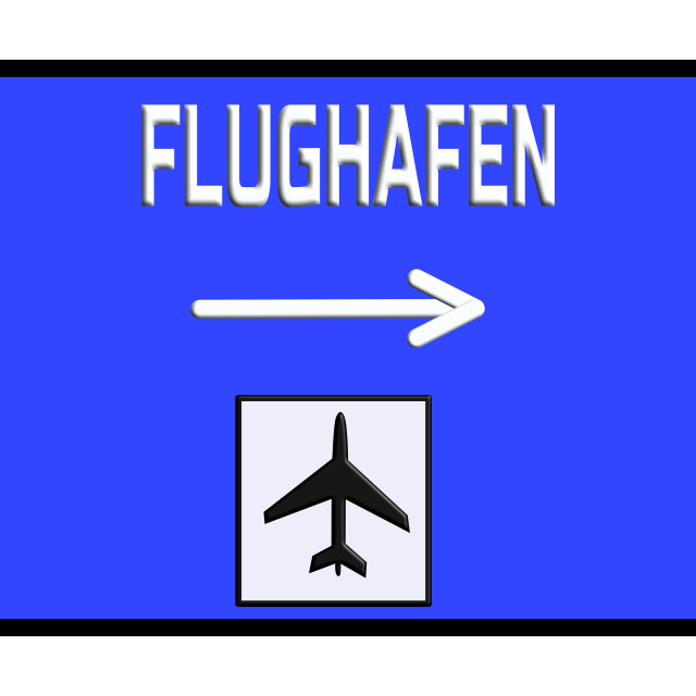 """Road sign airport german highway"" stock image"