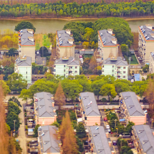 """""""Shanghai Outskirts Aerial View"""" stock image"""