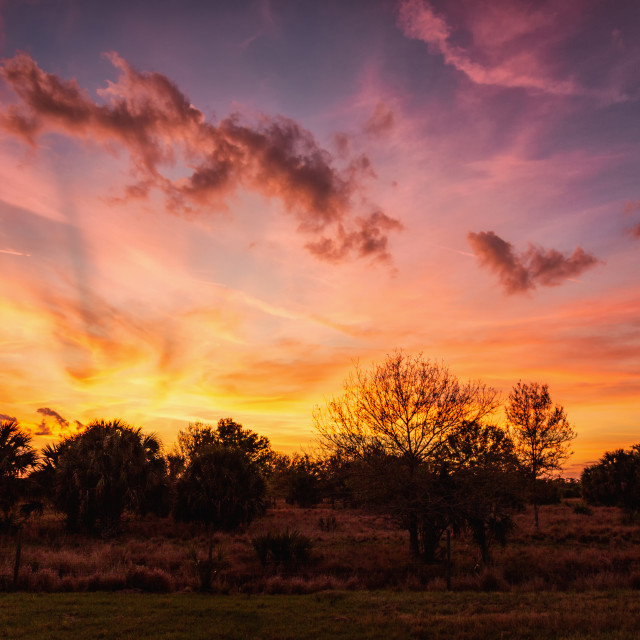 """A Dramatic Sunset Over Rural Florida, USA"" stock image"