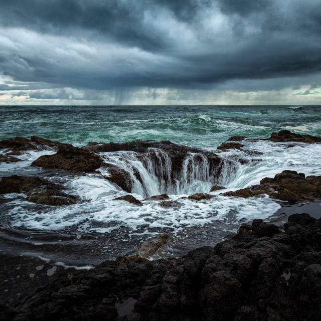 """Stormy Day at Thor's Well, Oregon, USA"" stock image"