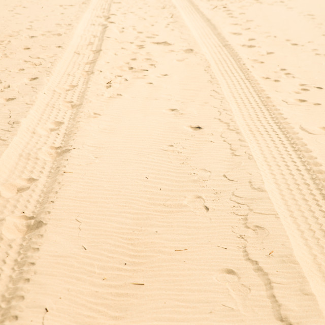 """""""close up on car tire trace on sand"""" stock image"""