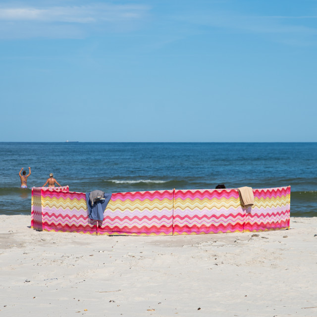 """""""close up on tents on the beach"""" stock image"""