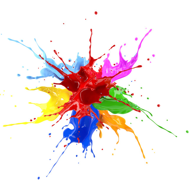 """Multicolour paint explosion, illustration"" stock image"
