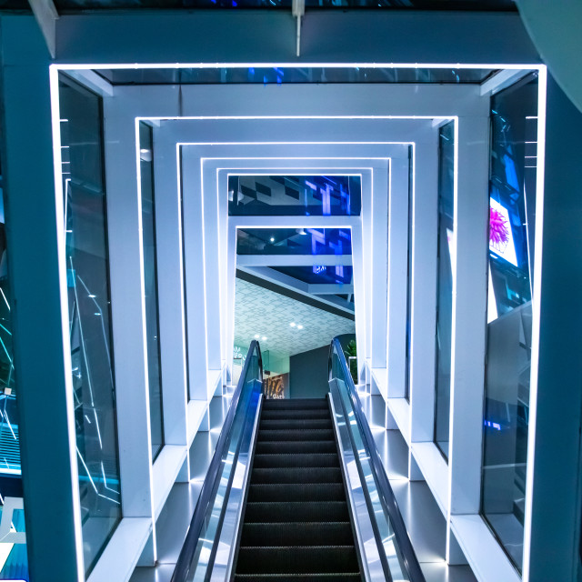"""tunnel escalator - shopping mall - siam discovery - bangkok"" stock image"