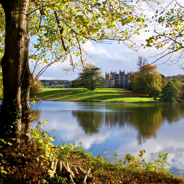"""Sherborne Castle and Lake"" stock image"
