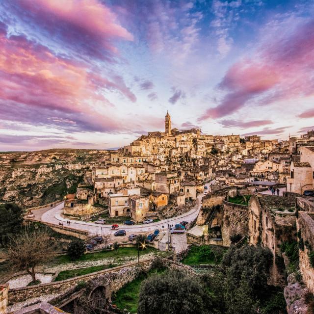 """Matera at sunset"" stock image"