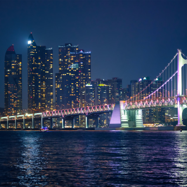 """Gwangan Bridge and skyscrapers in the night. Busan, South Korea"" stock image"