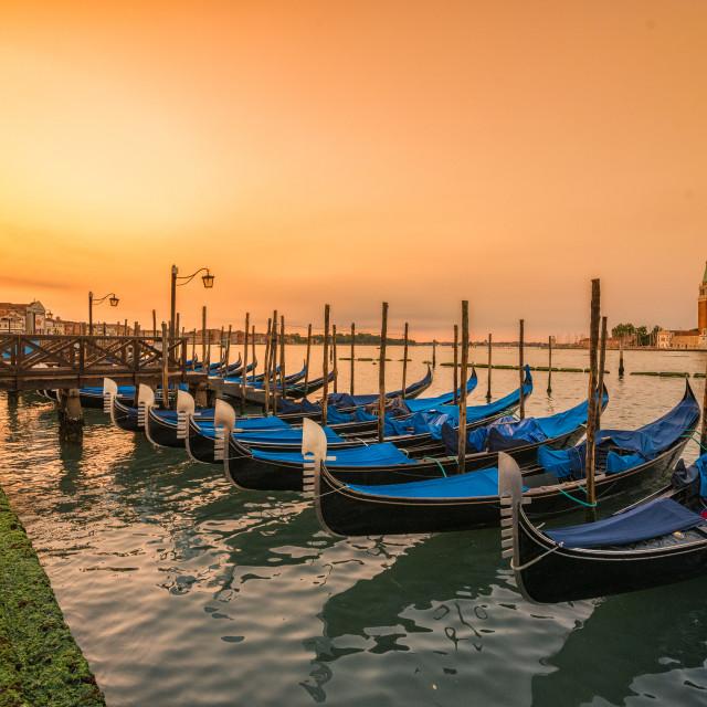 """""""Gondolas at sunrise"""" stock image"""