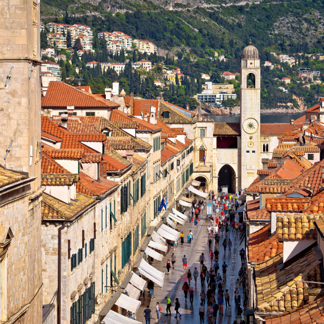 """""""Famous Stradun street in Dubrovnik view from walls"""" stock image"""