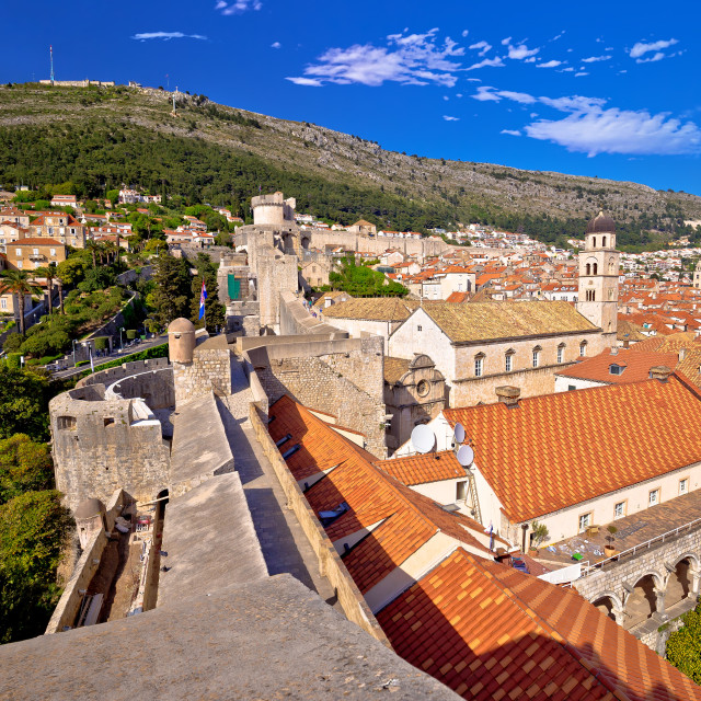"""""""View from Dubrovnik city walls on red rooftops of old town"""" stock image"""
