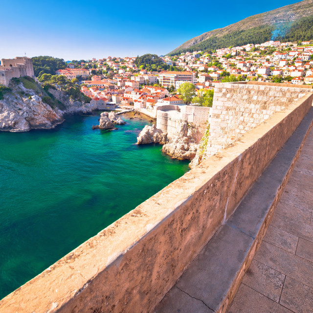 """""""Dubrovnik bay and historic walls view"""" stock image"""