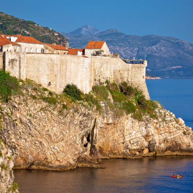 """""""Town of Dubrovnik and strong defence walls view"""" stock image"""