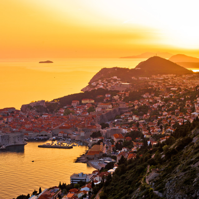 """""""Historic town of Dubrovnik aerial sunset view"""" stock image"""