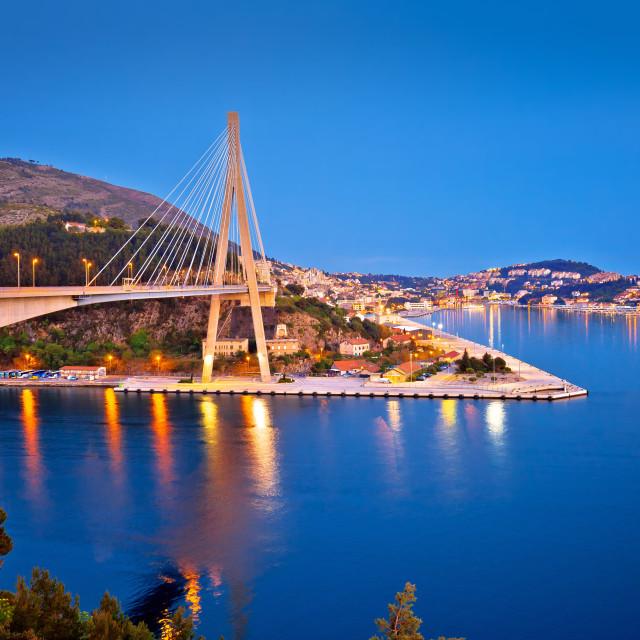 """""""Dubrovnik Franjo Tudjman bridge and harbor evening view"""" stock image"""