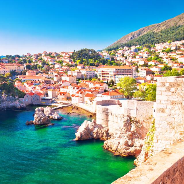 """Dubrovnik bay and historic walls panoramic view"" stock image"