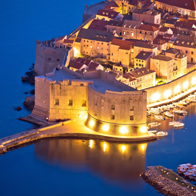"""""""Dubrovnik harbor and strong defense walls aerial view"""" stock image"""