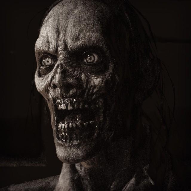 """Black and White Zombie Headshot"" stock image"