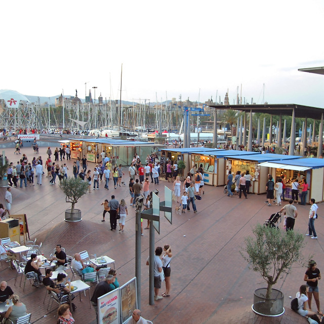 """Barcelona harbour and market"" stock image"