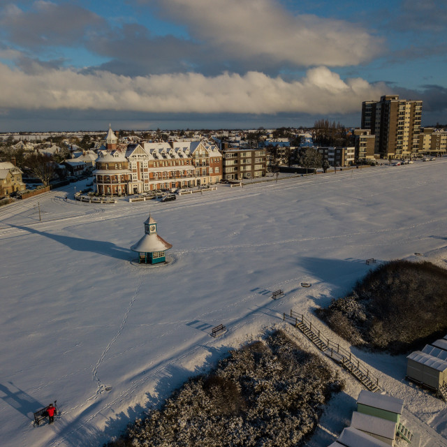 """""""Frinton on Sea in the Snow"""" stock image"""