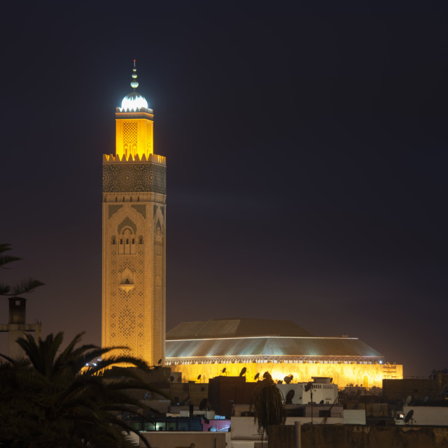 """""""Casablanca Morocco. The enormous Hassan II Mosque at dusk towering over the buildings of the Old Medina"""" stock image"""