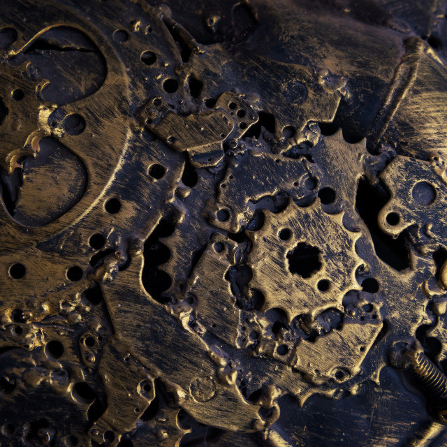 """Old gold metal machanic part textured background"" stock image"