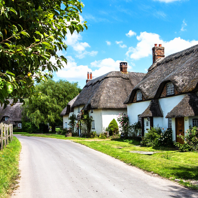 """Tarrant Monkton Cottages"" stock image"