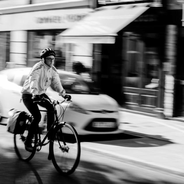 """Man on bike"" stock image"