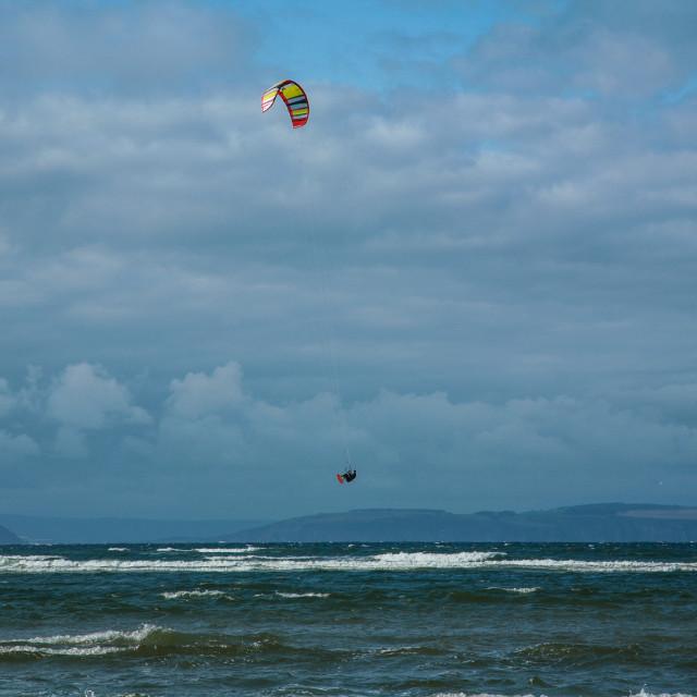 """Windsurfer jumping high"" stock image"