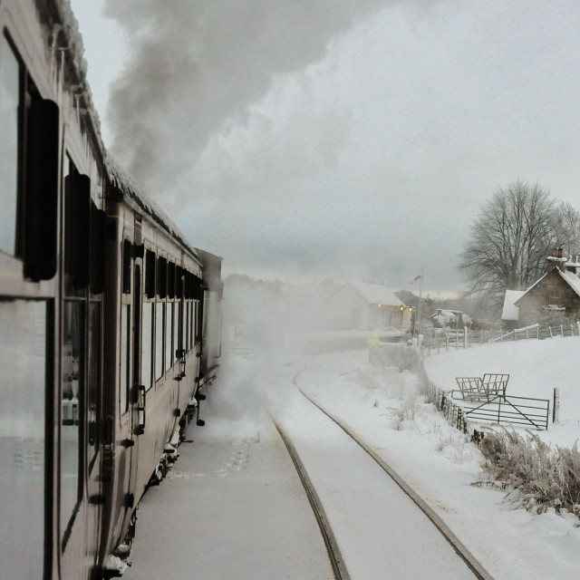 """""""Train pulling into station"""" stock image"""