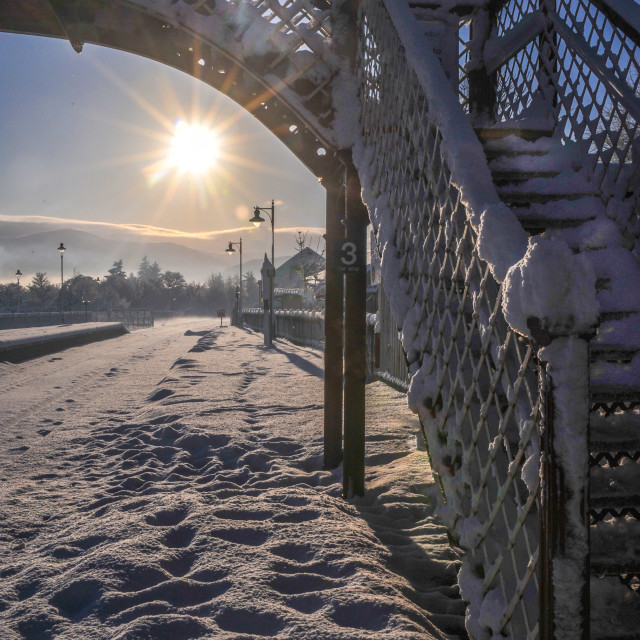 """Snowy Rail bridge"" stock image"