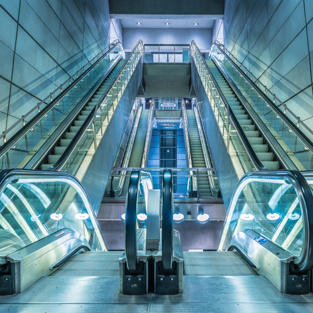 """escalators in a metro-station in Copenhagen"" stock image"
