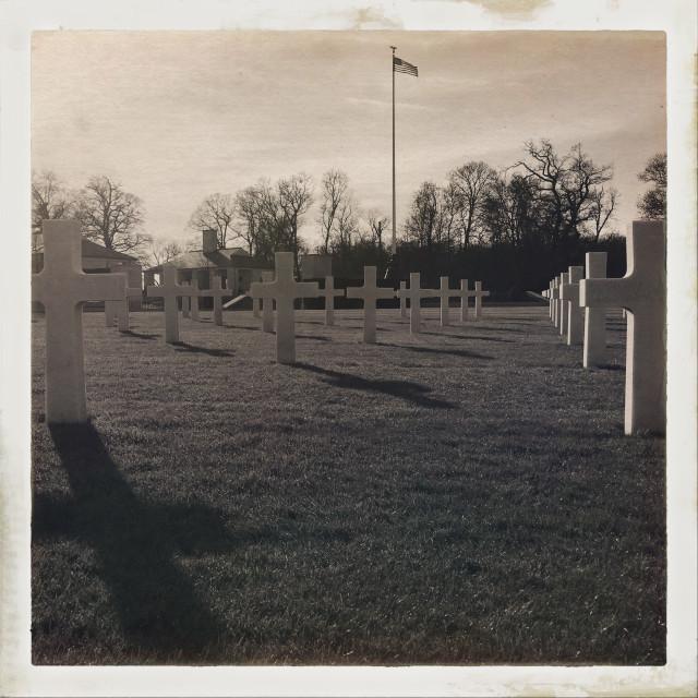 """Cambridge American Cemetery Sepia"" stock image"