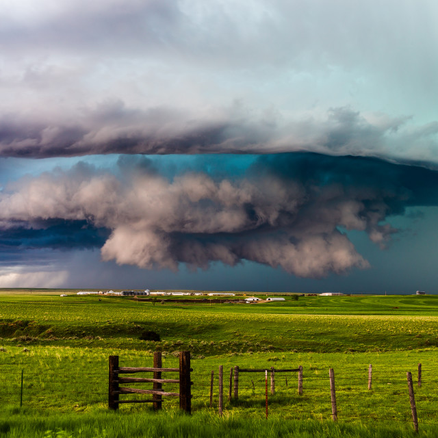 """Supercell thunderstorm with dramatic clouds."" stock image"