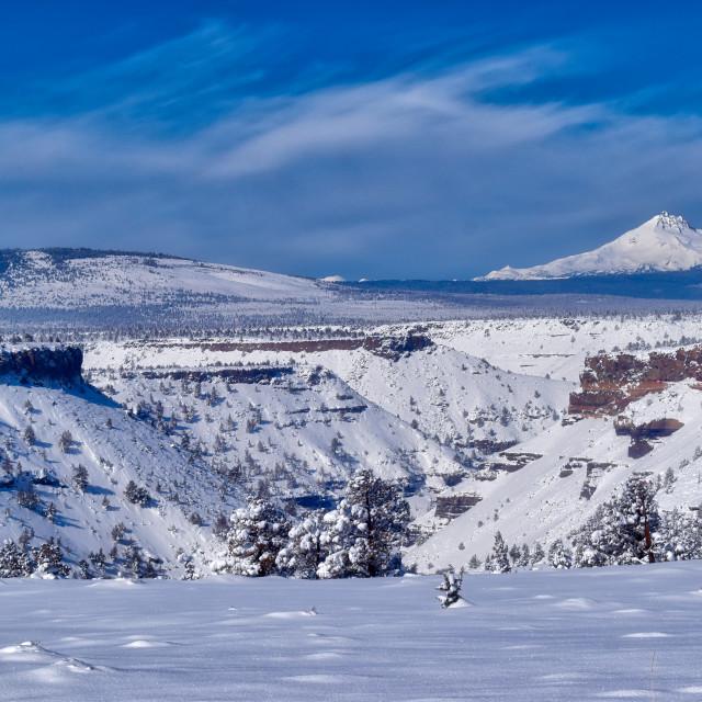 """Mt Jefferson winter snow in Central Oregon"" stock image"