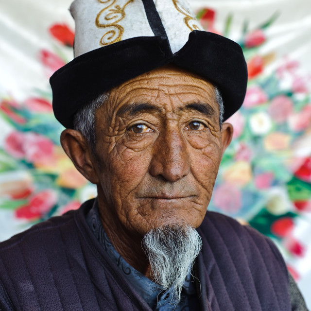 """Man from the Kyrgyz ethnic group ( Kyrgyzstan)"" stock image"