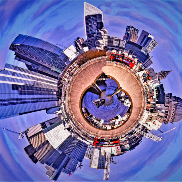 """""Little Planet"" photo of London's skyline"" stock image"