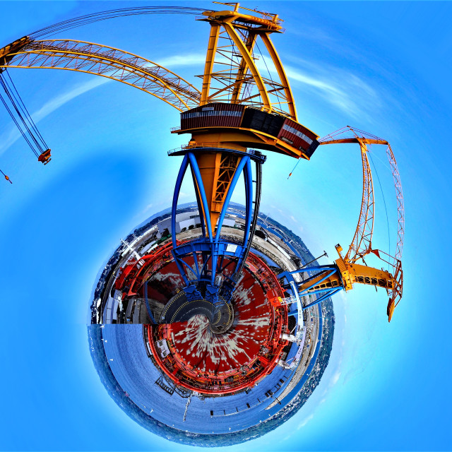 """""Little Planet"" photo of cranes"" stock image"