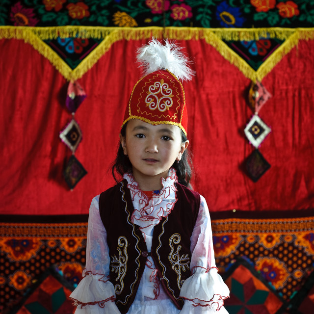 """Girl from the Kyrgyz ethnic group ( Tajikistan)"" stock image"